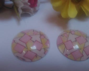 Set of 2 cabochons 25mm square pattern