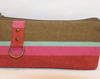 Kit or cases khaki and pink cotton canvas