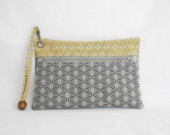 Yellow gray geometric fabric pouch