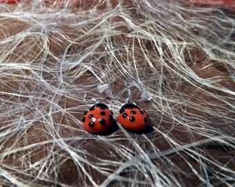 Earrings dangle polymer clay red Ladybird