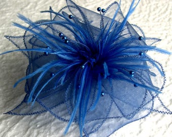 Blue organza flower brooch & feathers and beads