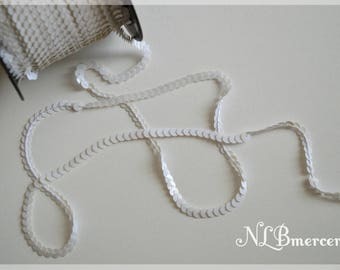 Sequin width 6 mm White Ribbon
