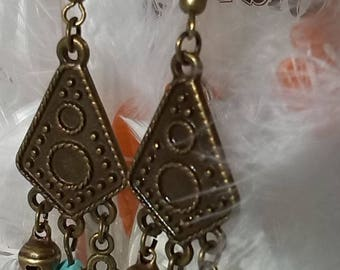 Turquoise chips and bronze earrings