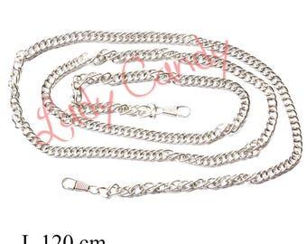 Chaine bandouliere 120 cm Coloris Argent mousquetons Pochette de soirée #330217