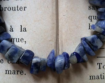 set of 60 beads sodalite color blue
