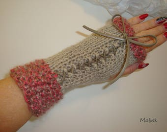 Lace, beige and coral, warm and soft knit mittens