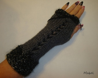 Fingerless gloves arm warmers gray and black knit, lace, mohair, very warm