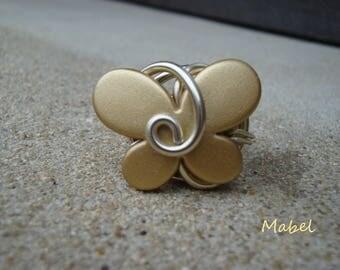 Light gold butterfly Ring, adjustable, light gold aluminum wire, wedding