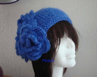 Royal Blue knit headband handmade knitting, crochet flower, wool, mohair and lurex