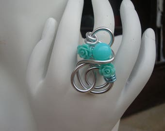 Ring turquoise flower, silver plated aluminum wire, flower and Pearl, wedding, adjustable