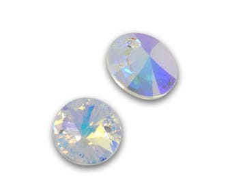 2 round Swarovski pendant, 6428 8mm Crystal AB color