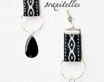 black and white stripe and black tassel earrings
