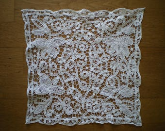 white square Luxeuil lace doily