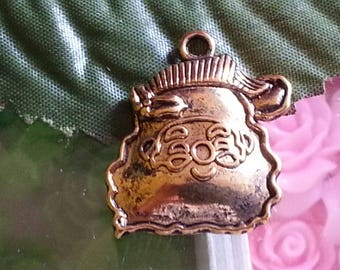 Pendants Father Christmas Tibetan style, for Christmas day, mixed shape gold antique, 22mmx15mm