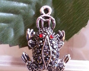 pendants with Rhinestone frog, hematite and the hyacinth, 31 x 21 x 15 mm, hole: 2 mm