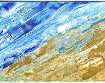 "Painting on canvas - cracked paint ""Seaside"" - original Element of Decoration"