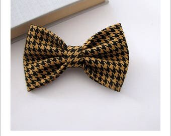Bow tie and clip hair 2 in 1 foot of houndstooth black and mustard
