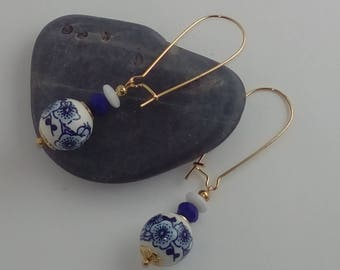 Fancy earrings, stopover in Japan, ceramic beads of cherry, white and blue glass beads, donuts and large flowers