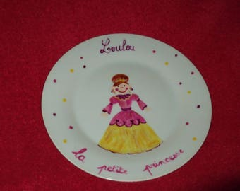 custom painted porcelain plate ' Princess ' 21 cm