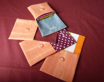 """Set of 4 small pockets buttoned fabric orange """"Cathy"""" cotton"""