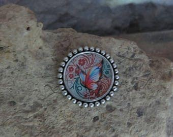 """Round silver pin 1 """"fluttering collection"""""""
