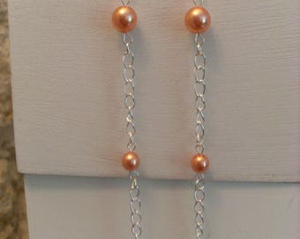 Long silver chain and Pearl Earrings