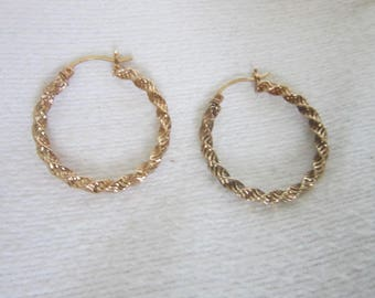 Vintage Retro 10 K Solid Yellow Gold Fancy Twist Hoop Pierced Earrings Large Hoop