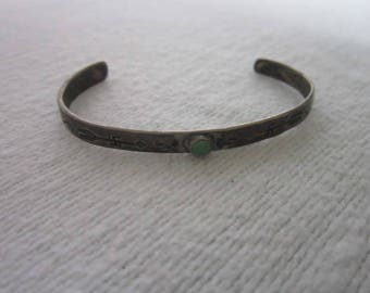 Antique Coin Silver & Turquoise Engraved Artist Signed Cuff Bracelet Arrows Snakes