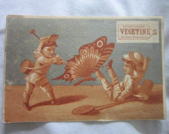 c 1880 Antique Victorian Trade Card Medicine Miracle Cure Vegetine