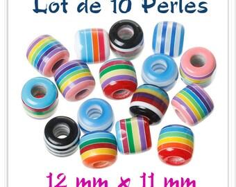 Set of 10 beads 12 mm x 11 mm multicolor Rainbow Stripes acrylic
