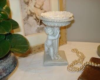 Tidy mind shabby ivory patina Angel jewelry holder