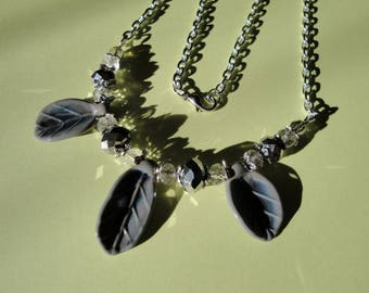 Necklace grey leaves