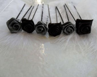 6 spikes black and grey flower bun hairstyle Christmas New