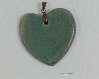 Heart pendant in matte green stoneware