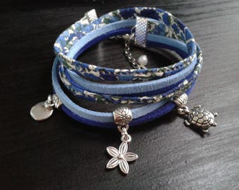 """Bracelet liberty """"petal and bud"""" blue and green, silver charms"""