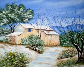 "Painting on canvas ""Provence in winter"""