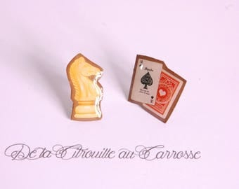 Cards and chess piece ear studs