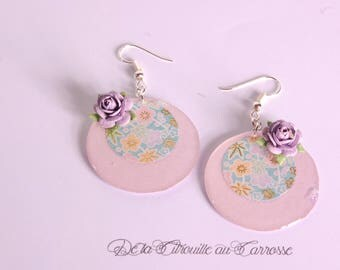 Japanese, green and purple floral earrings