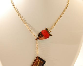 Strawberry Chocolate and chocolate square necklace
