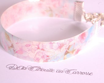 Apple blossoms Cuff Bracelet, blue and pink, pastel