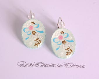 Earrings blue, white and green floral pattern
