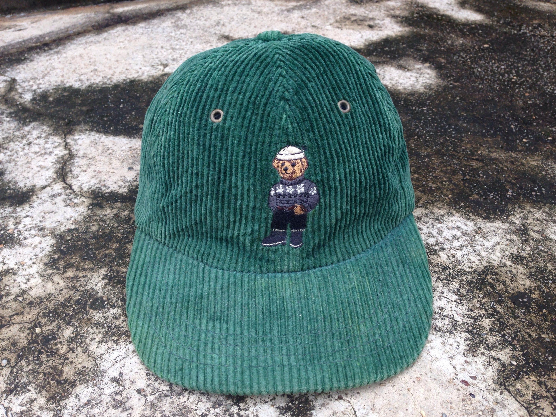 e1d753d0ee2 Vintage 90s Polo Bear ralph lauren Corduroy cap adj ...