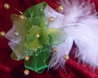 hair stick in Ribbon and nylon NET, feathers