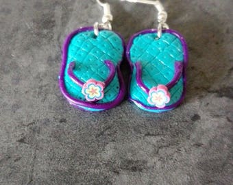 Tong with polymer clay earrings
