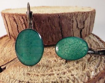 """""""Emerald"""" copper Stud Earrings"""