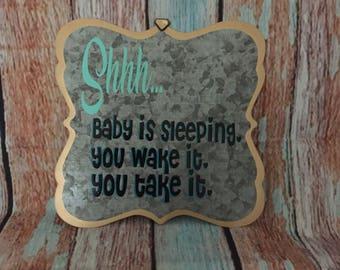 Custom, metal baby sleeping sign, door sign, baby shower gift, nursery sign, baby sign