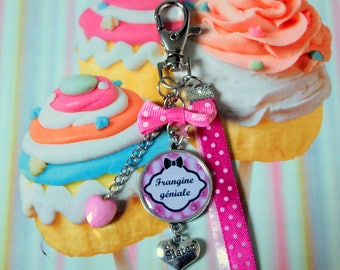 Keychain for sister sister funky cabochon personalized sister charm bag charm key sister