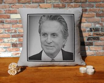 Michael Douglas Pillow Cushion - 16x16in - Grey