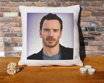 Michael Fassbender Pillow Cushion - 16x16in - White