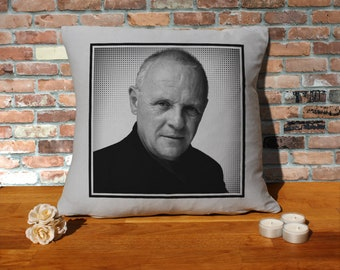 Anthony Hopkins Pillow Cushion - 16x16in - Grey